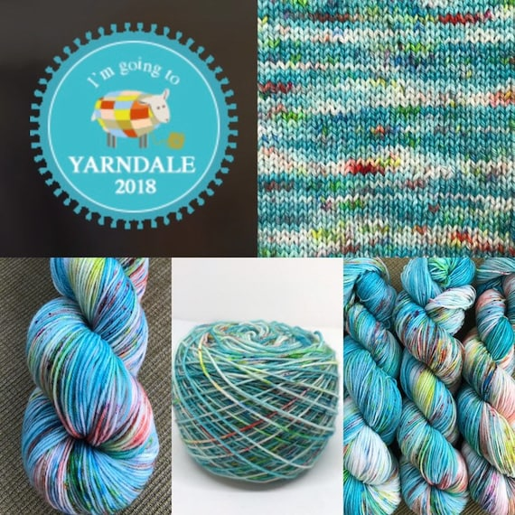 Hoollie Dancer Yarndale Exclusive - 100g superwash merino / nylon Sock Yarn 4 ply, fingering, hand dyed, turquoise, coral blue green speckle