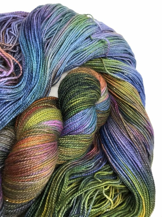 Aura - 100g Superwash Merino / Nylon / Gold Stellina Sparkle Sock Yarn 4 ply, fingering, hand dyed green, teal, purple, khaki