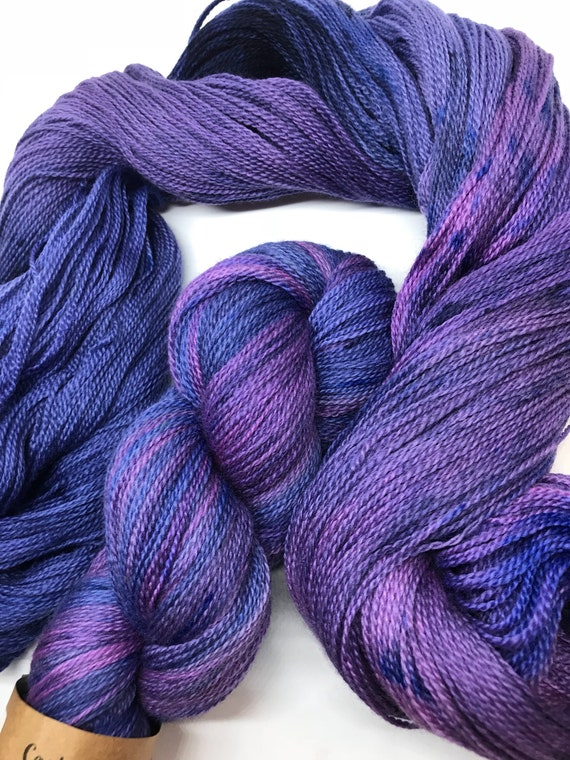 100g Extra fine merino / silk lace weight yarn, 80/20% 600 metres, hand dyed, 'Medusa'