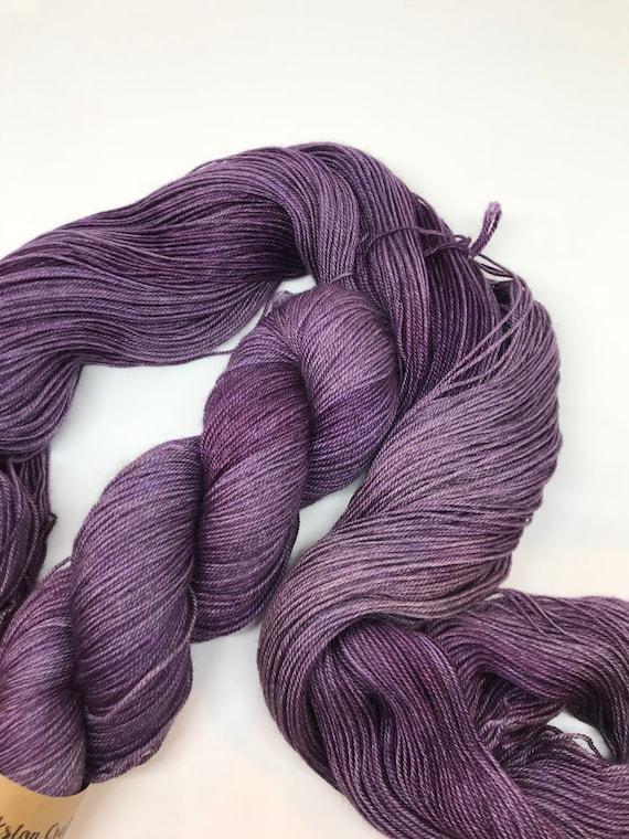 Aubergine - 100g 60/20/20 Superwash Merino / Silk / Yak Sock Yarn 4 ply, fingering, hand dyed in Scotland, purple