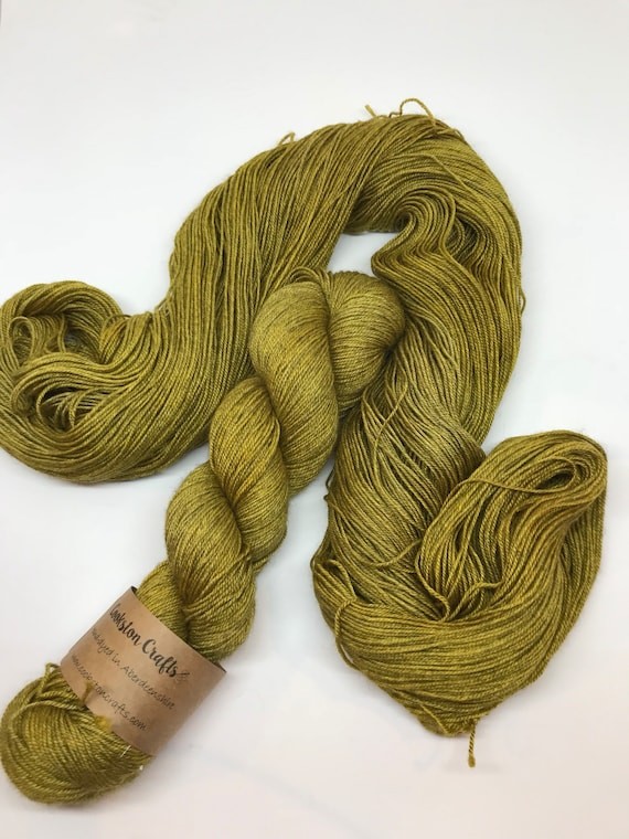 Olive - 100g 60/20/20 Superwash Merino / Silk / Yak Sock Yarn 4 ply, fingering, hand dyed in Scotland, khaki green