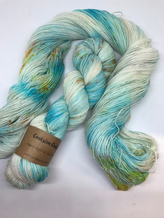 Koi 100g Superwash Merino / Nylon / Silver Stellina Sparkle Sock Yarn 4 ply, fingering, hand dyed, turquoise, yellow orange speckled