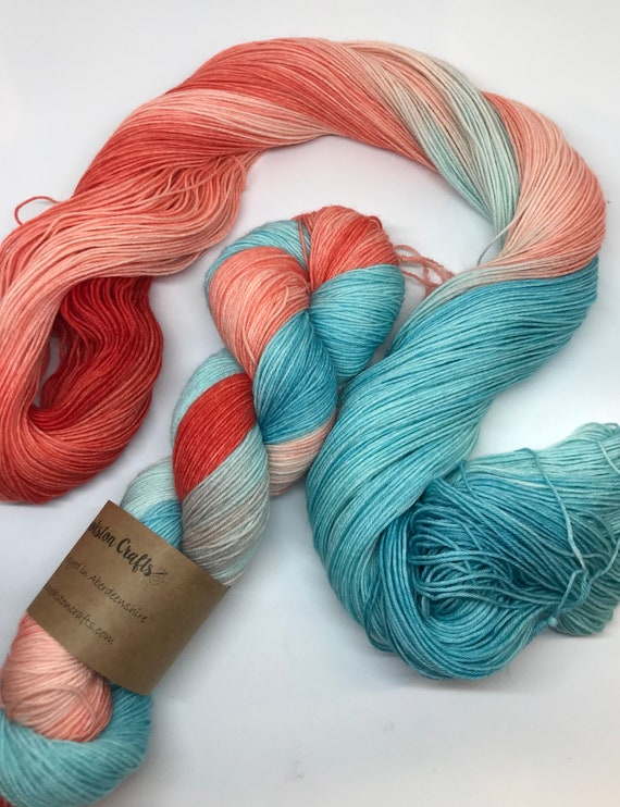 Flamingo - 100g superwash merino / nylon Sock Yarn 4 ply, fingering, hand dyed, turquoise, orange, coral