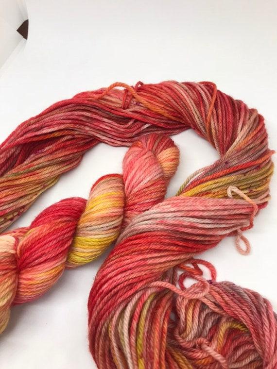 Mars - 50g 100% Superwash Merino DK double knit yarn, hand dyed in Scotland, variegated speckles mustard red