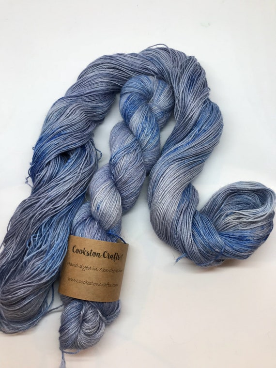"100g 50/25/25 Baby Alpaca / Silk / Linen Sock Yarn 4 ply, fingering, hand dyed in Scotland, ""dungaroos"" blue"