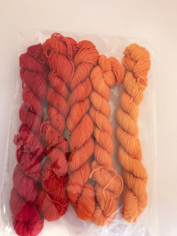 5 x 20g Mini Skein set 75/25 superwash merino/nylon, sock, 4 ply, fingering, hand dyed, red orange fade
