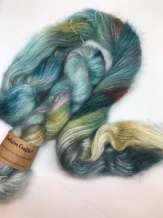 Outlander - 50g Kid Mohair / Silk 72/28 % lace weight hand dyed in Scotland, grey, bronze teal variegated