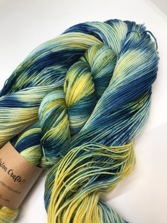 Seascape - 100g Superwash Merino / Nylon Sock Yarn 4 ply, fingering, hand dyed in Scotland, teal green petrol navy mustard yellow speckles