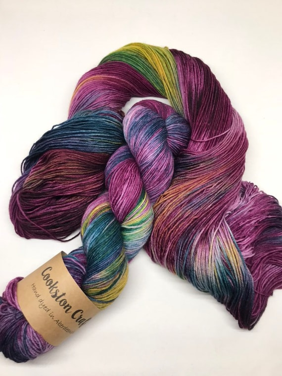 Mallard - 100g Superwash Merino / Nylon Sock Yarn 4 ply, fingering, hand dyed in Scotland, burgandy, gold, teal, autumnal