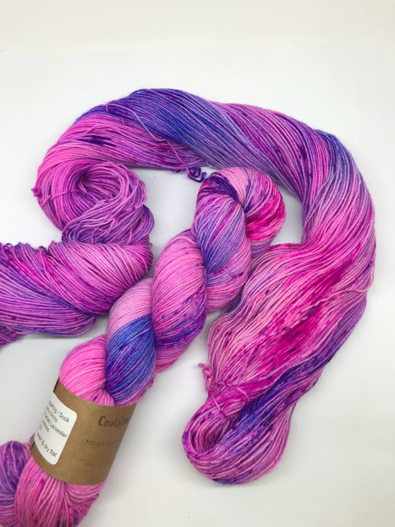 "100g British Blue Faced Leicester Yarn 4 ply, fingering, sock, hand dyed in Scotland, ""Cheeky Vimto"", pink purple, speckles"