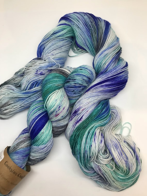 Hokey Cokey - 100g superwash merino / nylon Sock Yarn 4 ply, fingering, hand dyed, variegated emerald green, blue, ure, grey