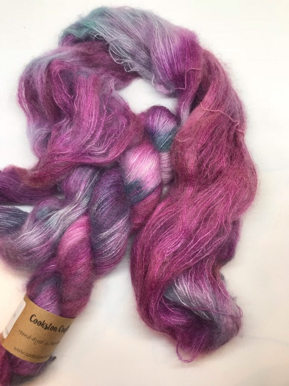 Juniper - 50g Kid Mohair / Silk 72/28 % lace weight hand dyed in Scotland, purple teal variegated