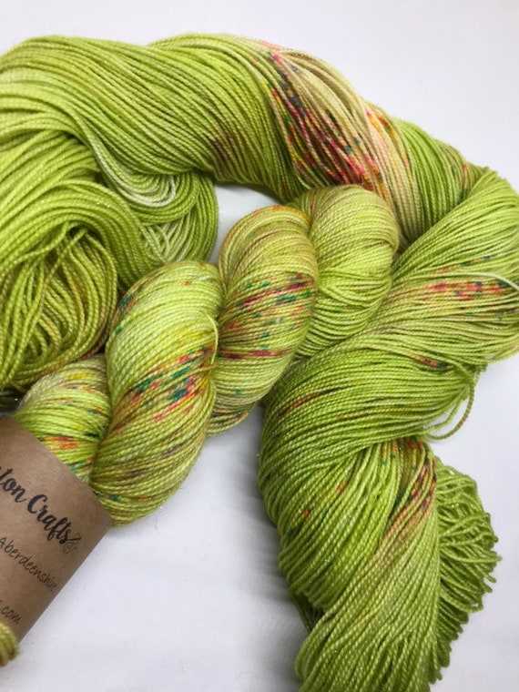 Fairy Lights - 100g Superwash Merino / Nylon / Gold Stellina Sparkle Sock Yarn 4 ply, fingering, hand dyed lime green, multi coloured speckl