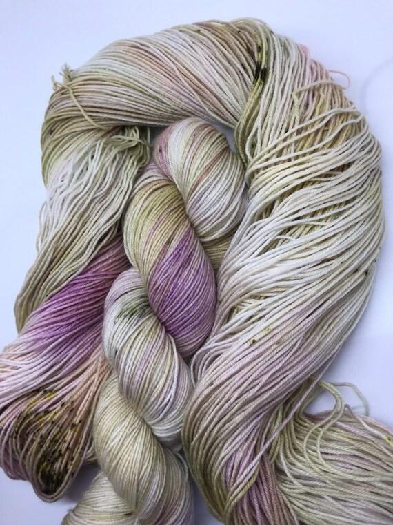 French Romance - 100g Superwash Merino / Nylon Sock Yarn 4 ply, fingering, hand dyed in Scotland, pink, gold, grey, green speckles Outlander