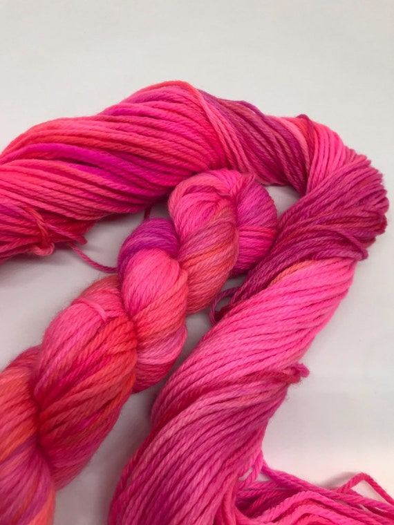 Peony - 50g 100% Superwash Merino DK double knit yarn, hand dyed in Scotland, variegated, neon pink, orange