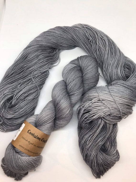 Granite - 100g Superwash Merino / Nylon Sock Yarn 4 ply, fingering, hand dyed in Scotland, grey, semi solid