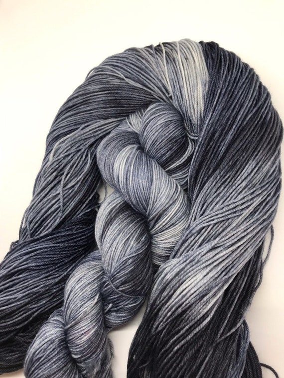 Ink Blot -  100g Superwash Merino / Nylon Sock Yarn 4 ply, fingering, hand dyed in Scotland, black, navy, grey variegated