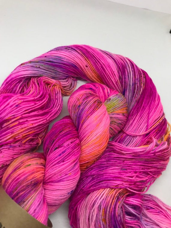 Pete Tong - 100g Superwash Merino / Nylon Sock Yarn 4 ply, fingering, hand dyed in Scotland, neon pink, purple, blue, yellow, speckles