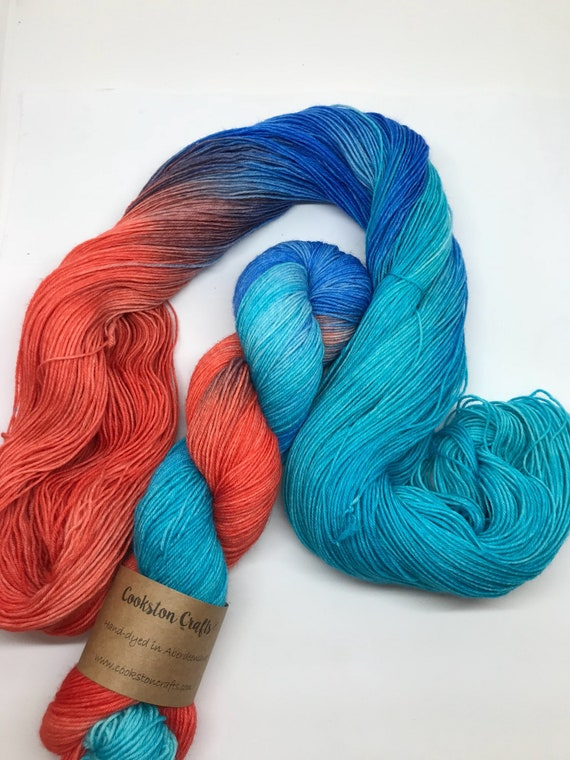 "100g British Blue Faced Leicester Yarn 4 ply, fingering, sock, hand dyed in Scotland, ""Spoonflower"" coral orange, blue, turquoise"