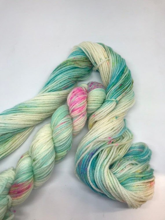 Acquiesce - 50g 100% Superwash Merino DK double knit yarn, hand dyed in Scotland, variegated turquoise pink green speckles