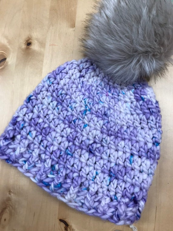 Crochet Beanie Hat, hand dyed chunky merino yarn. Optional faux fur pom pom