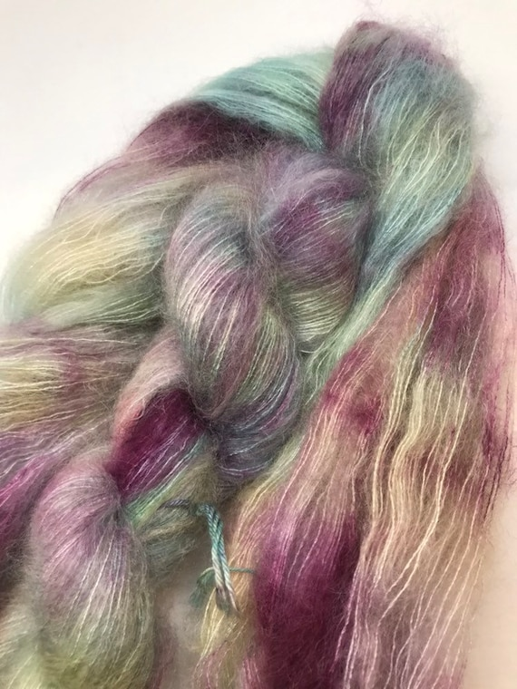 Bree - 50g Kid Mohair / Silk 72/28 % lace weight hand dyed in Scotland, turquousr, burgundy variegated outlander