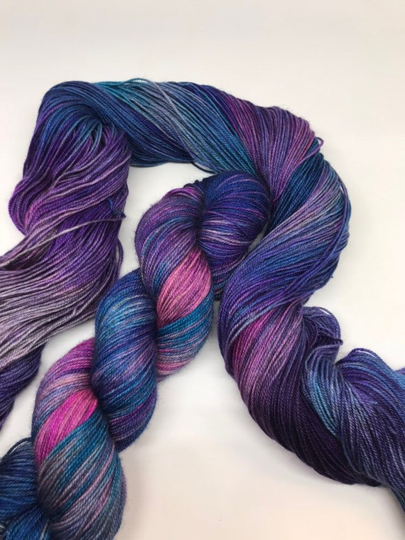 Poolewe - 100g 60/20/20 Superwash Merino / Silk / Yak Sock Yarn 4 ply, fingering, hand dyed in Scotland, turquoise navy, purple pink variega