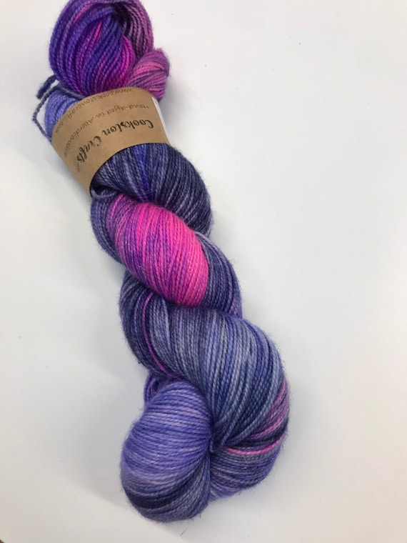 SALE! Galaxy - 100g Superwash Merino / Nylon / Silver Stellina Sparkle Sock Yarn 4 ply, fingering, hand dyed Blue, Purple, navy, pink