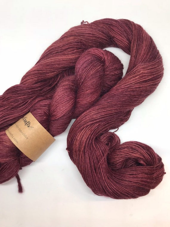 Maroon - 100g Superwash Merino / Alpaca / Nylon Yarn 4 ply, fingering, sock, hand dyed in Scotland, burgandy red