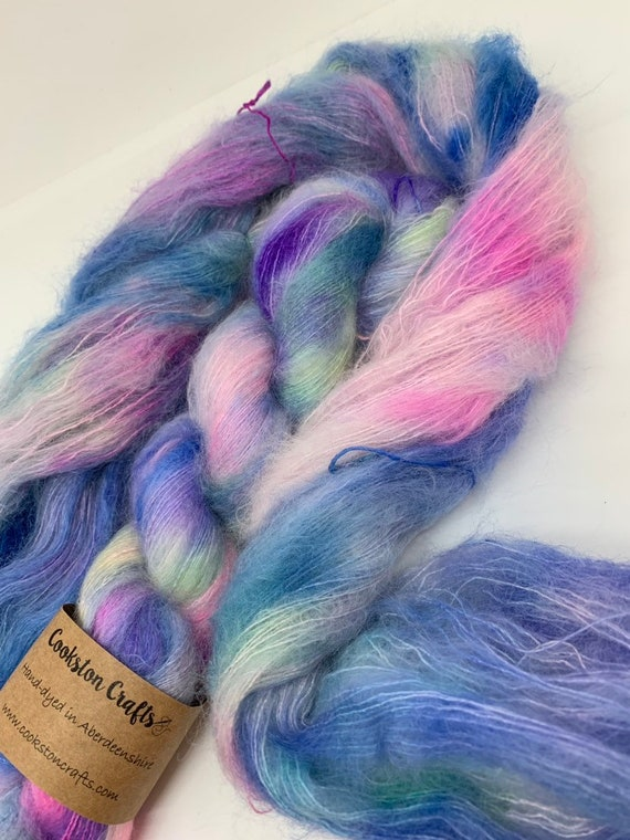 Ozzie - 50g Kid Mohair / Silk 72/28 % lace weight hand dyed in Scotland, pink, blue, green