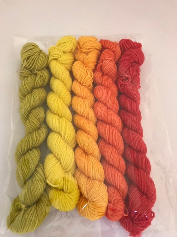 5 x 20g Mini Skein set 75/25 superwash merino/nylon, sock, 4 ply, fingering, hand dyed, red orange yellow green