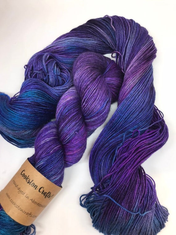 Inverewe - 100g 60/20/20 Superwash Merino / Silk / Yak Sock Yarn 4 ply, fingering, hand dyed in Scotland, turquoise navy, purple variegated