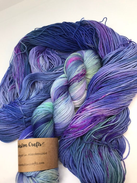Ozzie - 100g Superwash Merino / Nylon Sock Yarn 4 ply, fingering, hand dyed in Scotland, blue purple mint green pink purple speckles