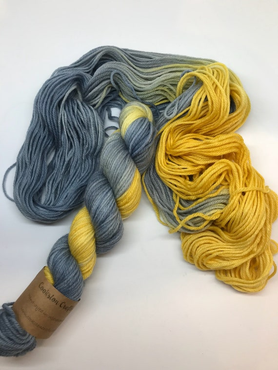 Grellow - 50g 100% Superwash Merino DK double knit yarn, hand dyed in Scotland, variegated, grey, mustard yellow