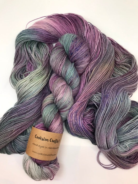 Thistly Brae - 100g Superwash Merino / Nylon /Silver Stellina Sparkle Sock Yarn 4 ply, fingering, hand dyed teal green purple, violet specke