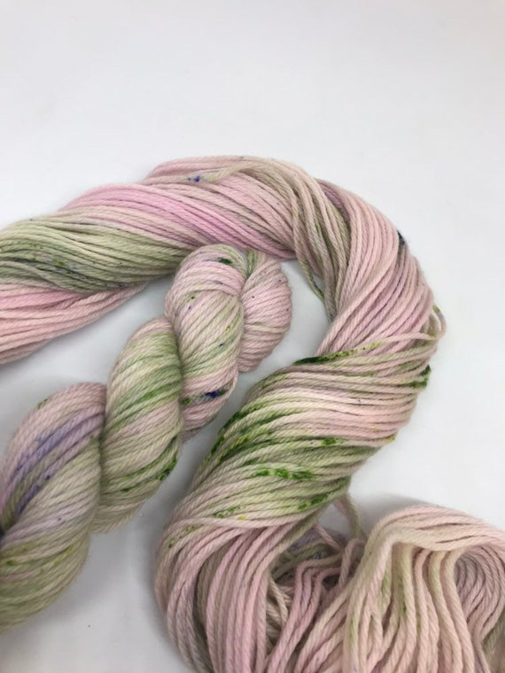 Delphinium - 50g 100% Superwash Merino DK double knit yarn, hand dyed in Scotland, variegated, lilac, green speckles