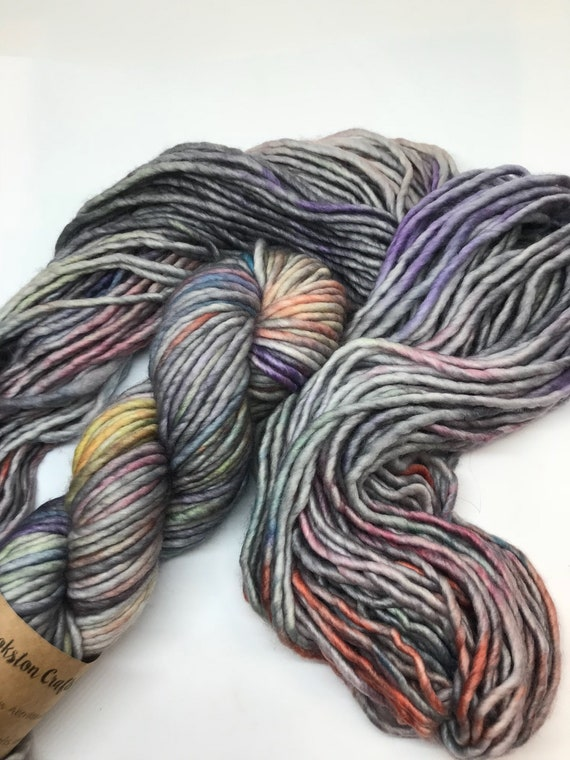 Aurora - 100g Super Chunky SW Merino / Nylon Singles, hand dyed in Scotland, grey multi variegated