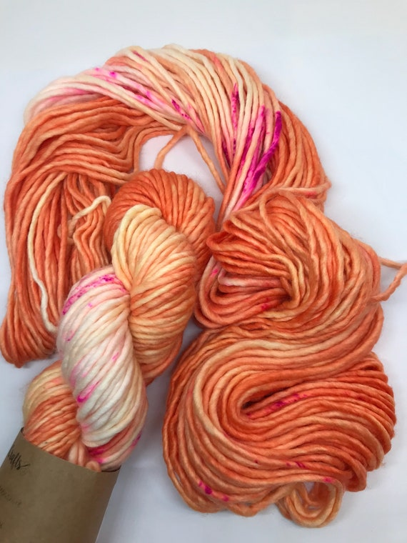 SALE! Fruit Salad - 100g Chunky SW Merino / Nylon Singles, hand dyed in Scotland, orange, pink speckles