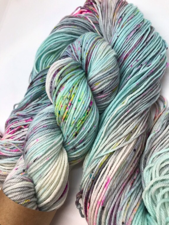 Alexa - 100g 75/25% Superwash Merino/ Nylon , DK double knit yarn, hand dyed in Scotland, turquoise grey pink green speckles