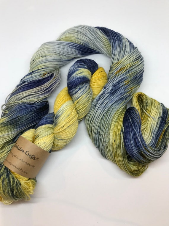 Paloma - 100g Superwash Merino / Nylon / Gold Stellina Sparkle Sock Yarn 4 ply, fingering, hand dyed mustard, navy, speckles