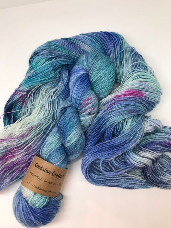 Hokey Cokey - 100g Superwash Merino / Nylon /Silver Stellina Sparkle Sock Yarn 4 ply, fingering, hand dyed blue, teal, grey speckles