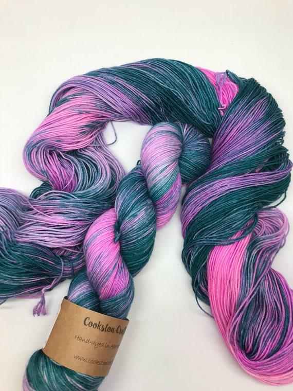 "100g Superwash Merino / Nylon Sock Yarn 4 ply, fingering, hand dyed, green, pink, purple, "" Rosebay"""