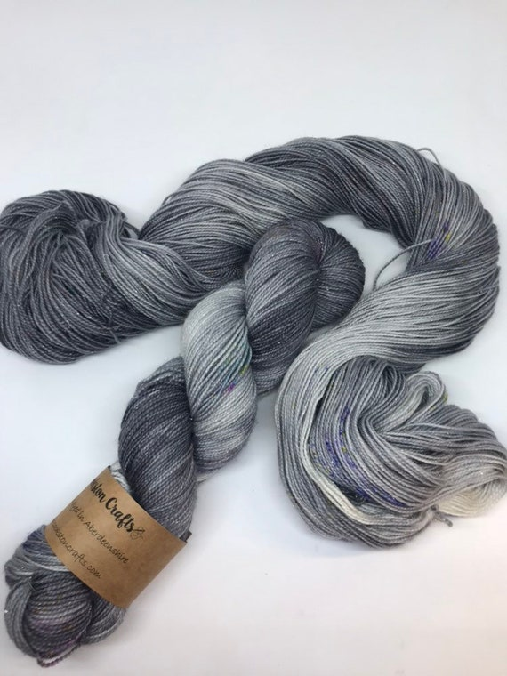 Granite Star 100g Superwash Merino / Nylon / Silver Stellina Sparkle Sock Yarn 4 ply, fingering, hand dyed, grey, neon speckles