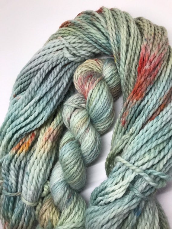 Outlander - 100g Baby Alpaca  Chunky / Bulky Yarn, hand dyed in Scotland, grey green and teal orange