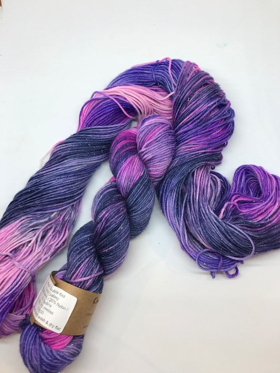"100g 75/20/5% Superwash Merino/ Nylon / Silver Stellina, DK double knit yarn, hand dyed in Scotland, ""Galaxy"" Blue, Navy, Pink,Purple"