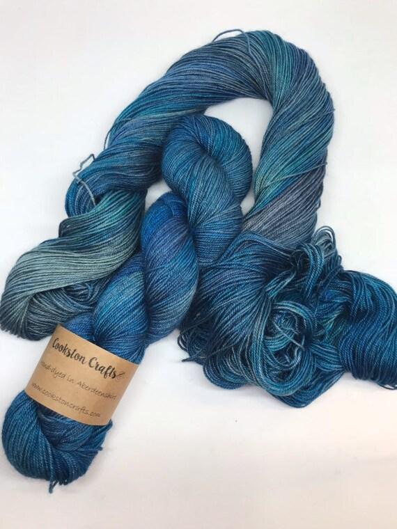 Skye - 100g 60/20/20 Superwash Merino / Silk / Yak Sock Yarn 4 ply, fingering, hand dyed in Scotland, turquoise blue tonal