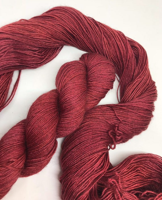 Garnet - 100g 60/20/20 Superwash Merino / Silk / Yak Sock Yarn 4 ply, fingering, hand dyed in Scotland, burgundy red