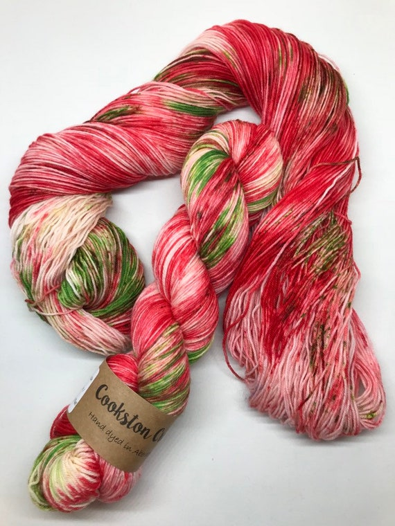 Candy Cane - 100g Superwash Merino / Nylon Sock Yarn 4 ply, fingering, hand dyed in Scotland, red, green, white speckled xmas