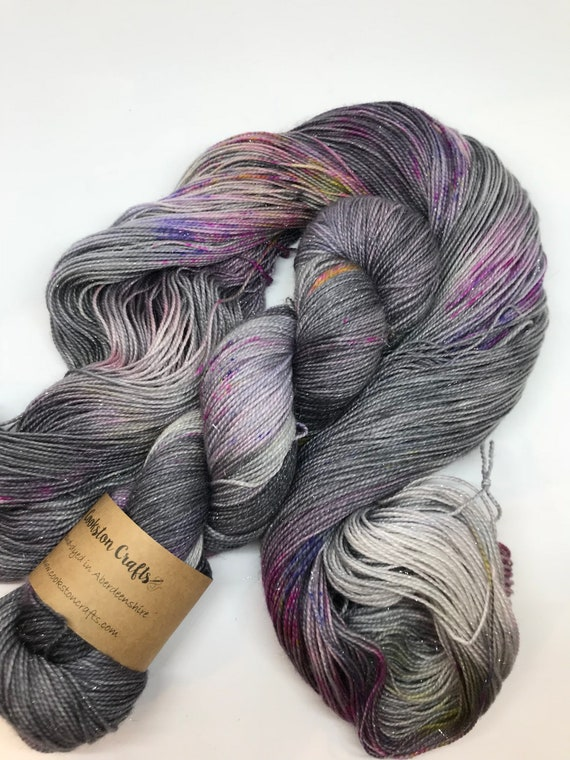 Granite Speckle- 100g Superwash Merino / Nylon / Silver Stellina Sparkle Sock Yarn 4 ply, fingering, hand dyed grey, pink, purple, yellow