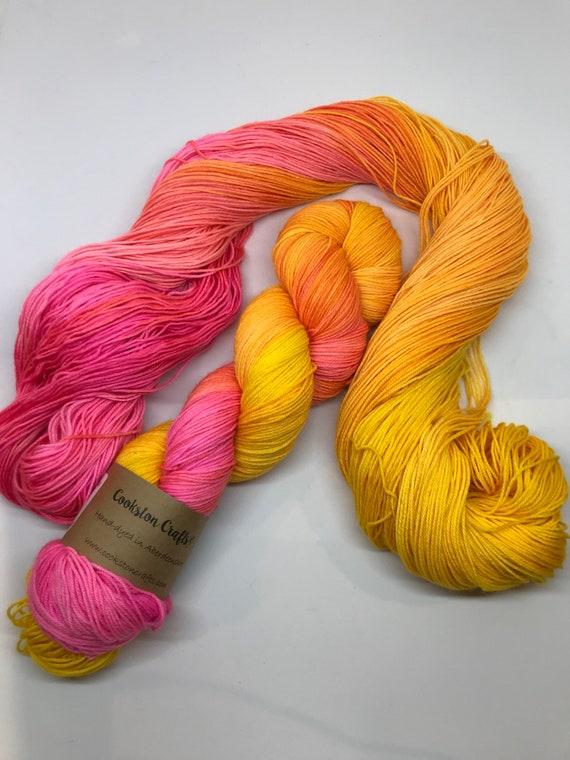 Solero - 100g superwash merino / nylon Sock Yarn 4 ply, fingering, hand dyed, variegated pink, orange, yellow